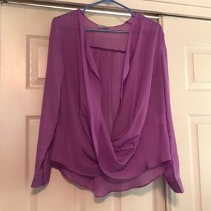 Purple twist front blouse